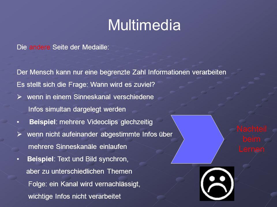 Multimedia Nachteil beim Lernen Die andere Seite der Medaille: