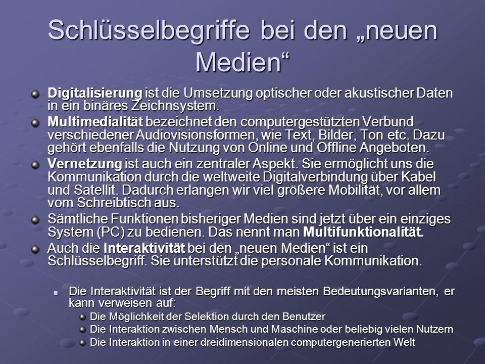 """Schlüsselbegriffe bei den """"neuen Medien"""