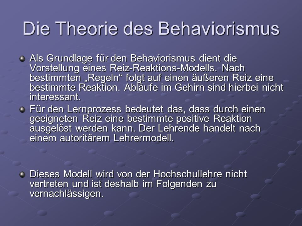 Die Theorie des Behaviorismus