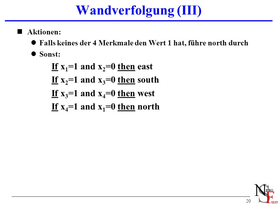 Wandverfolgung (III) If x2=1 and x3=0 then south