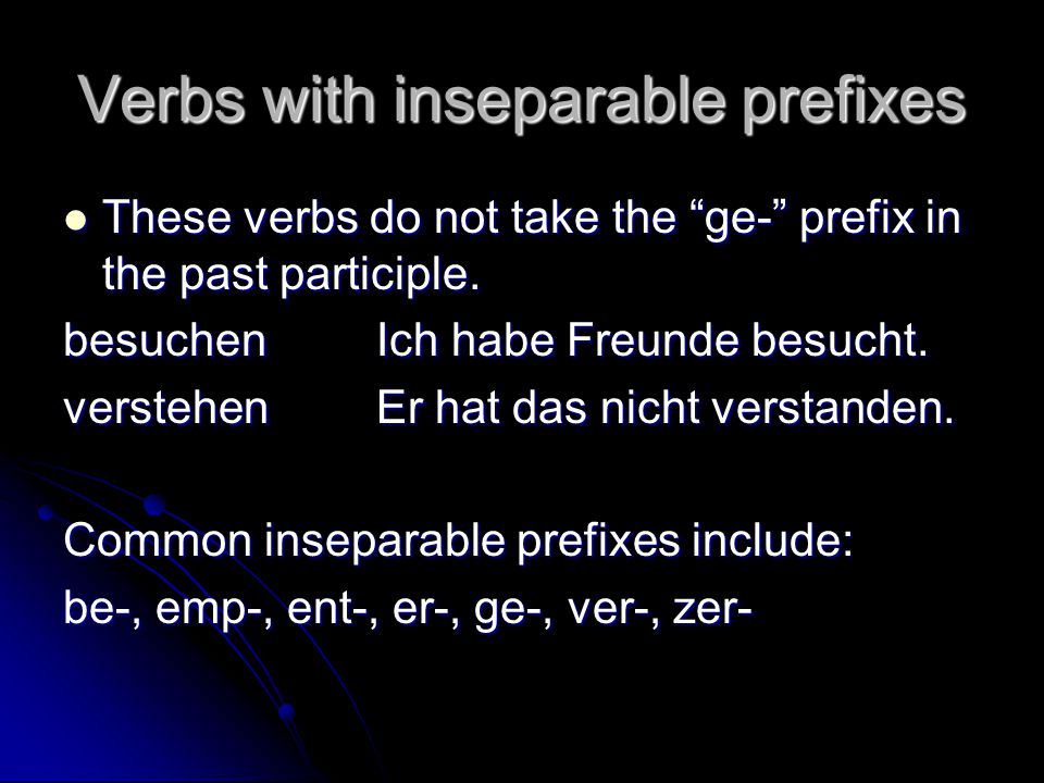 Verbs with inseparable prefixes