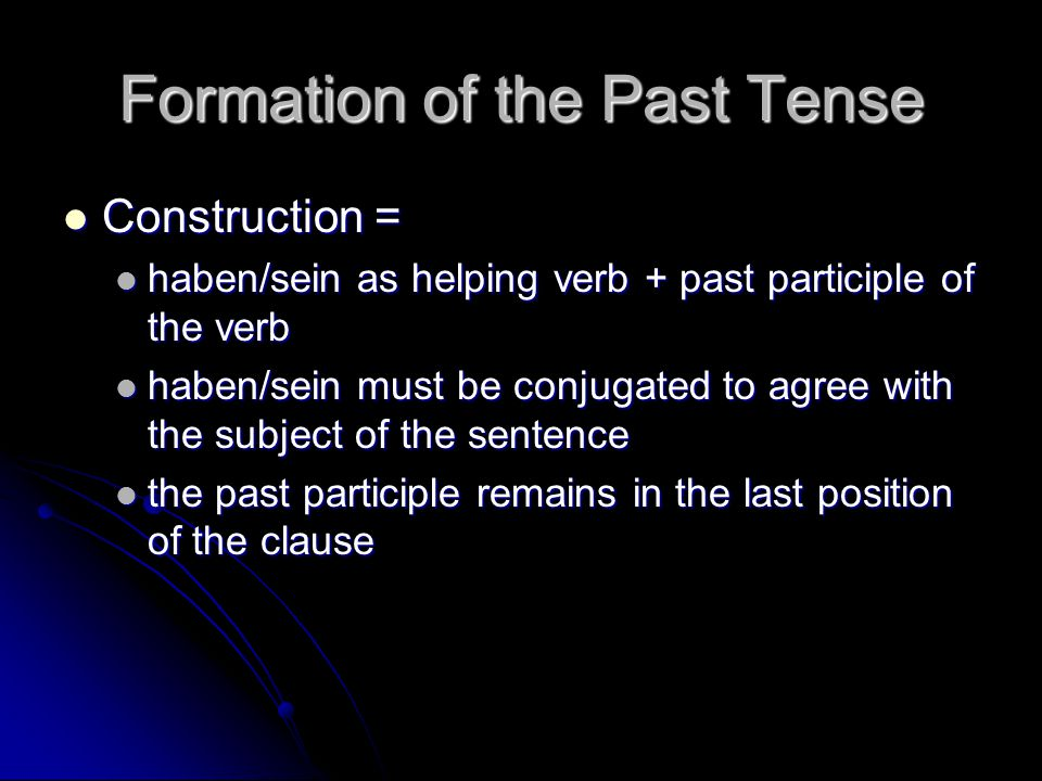 Formation of the Past Tense