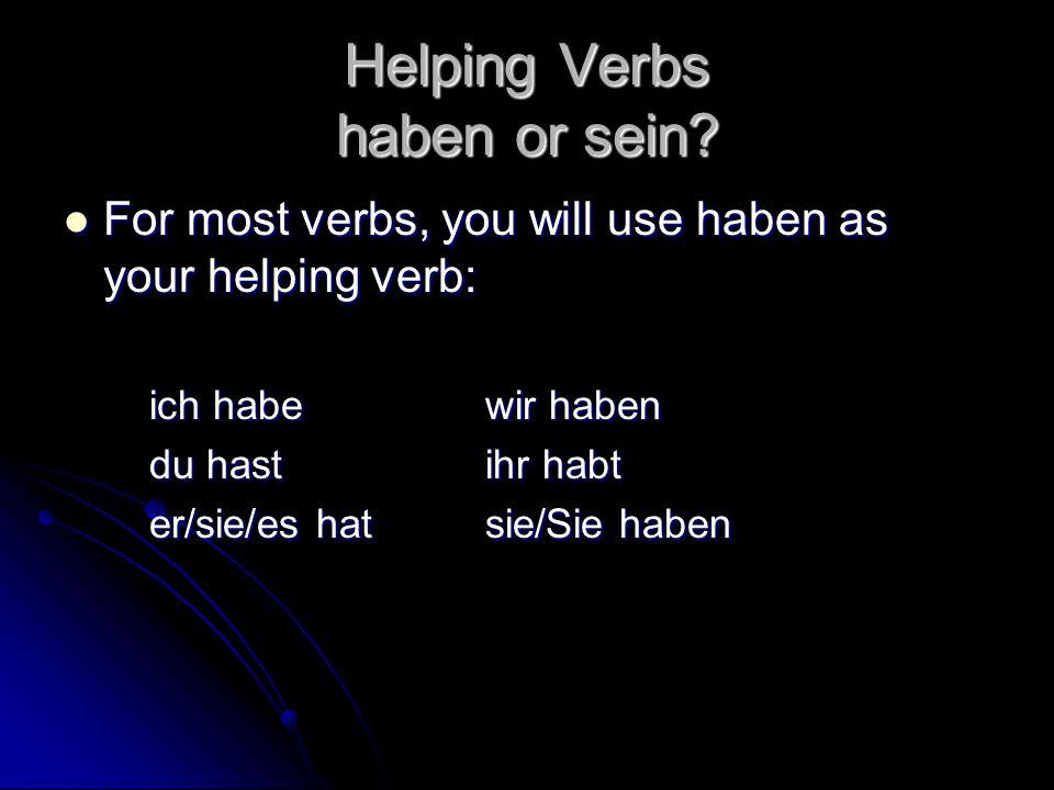 Helping Verbs haben or sein