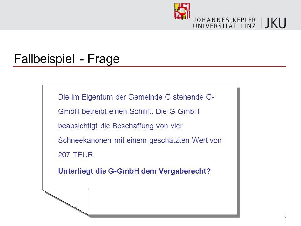 Fallbeispiel - Frage Unterliegt die G-GmbH dem Vergaberecht