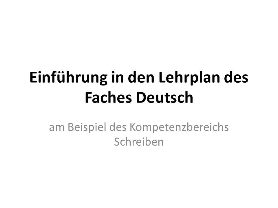 Einführung in den Lehrplan des Faches Deutsch
