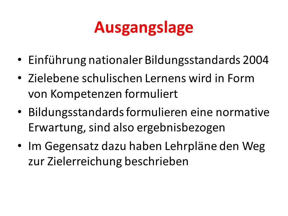 Ausgangslage Einführung nationaler Bildungsstandards 2004