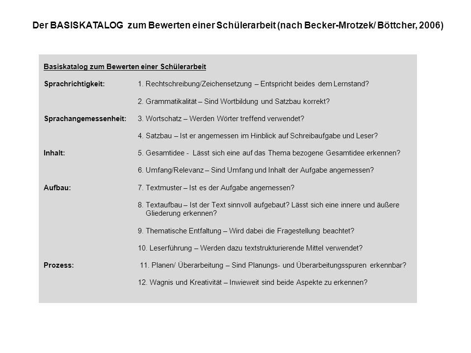 Der BASISKATALOG zum Bewerten einer Schülerarbeit (nach Becker-Mrotzek/ Böttcher, 2006)
