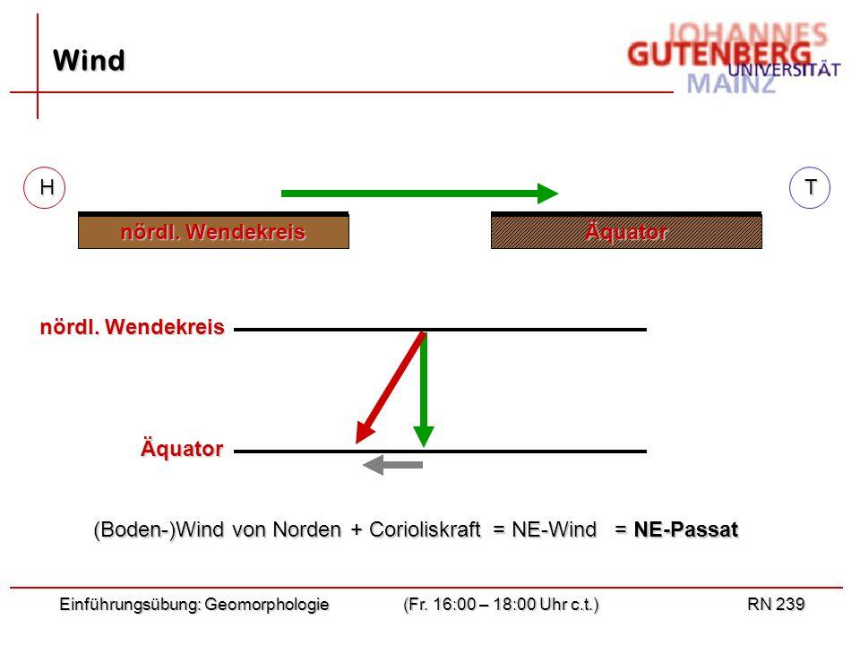 Wind H T nördl. Wendekreis Äquator nördl. Wendekreis Äquator