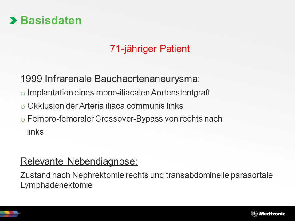 Basisdaten 71-jähriger Patient 1999 Infrarenale Bauchaortenaneurysma: