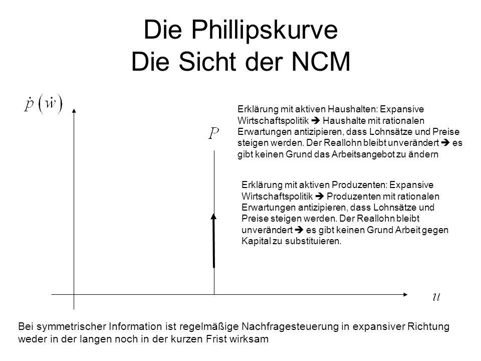 Die Phillipskurve Die Sicht der NCM