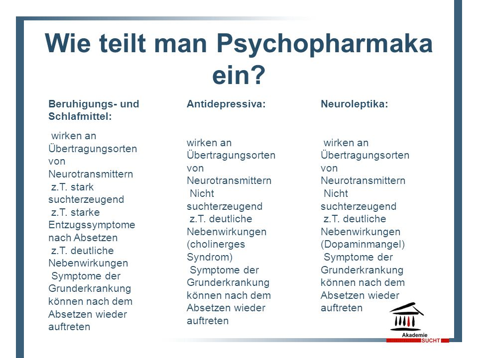 Wie teilt man Psychopharmaka ein