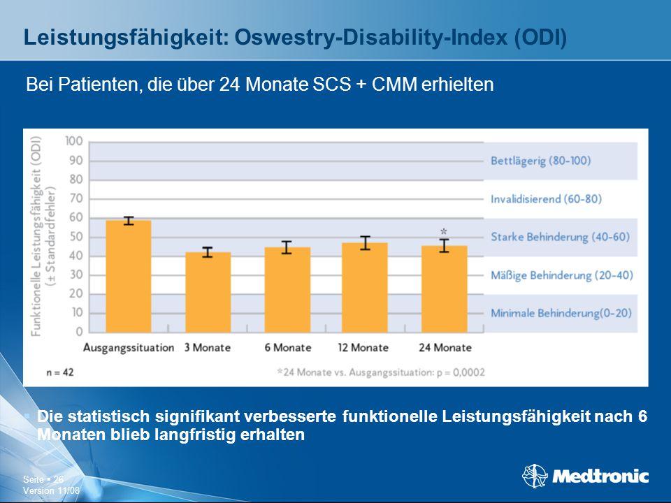 Leistungsfähigkeit: Oswestry-Disability-Index (ODI)
