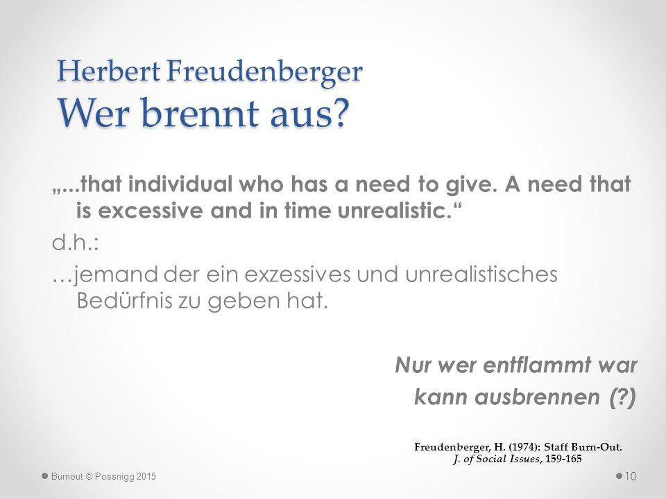 Herbert Freudenberger Wer brennt aus