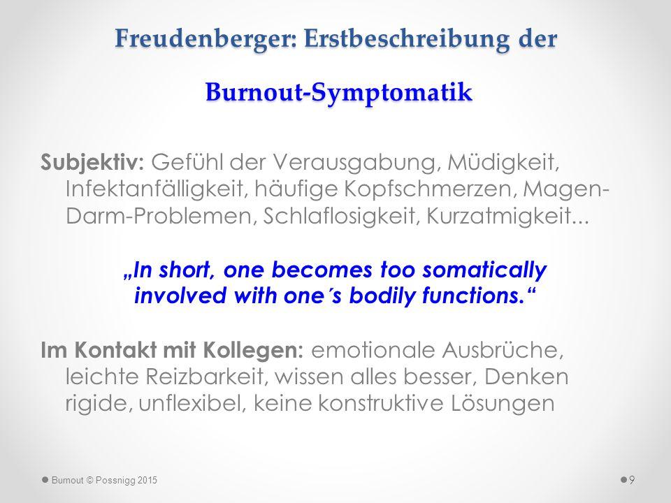 Freudenberger: Erstbeschreibung der Burnout-Symptomatik