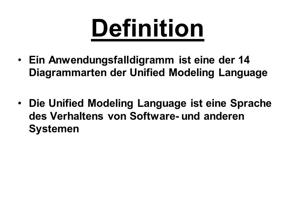 Definition Ein Anwendungsfalldigramm ist eine der 14 Diagrammarten der Unified Modeling Language.