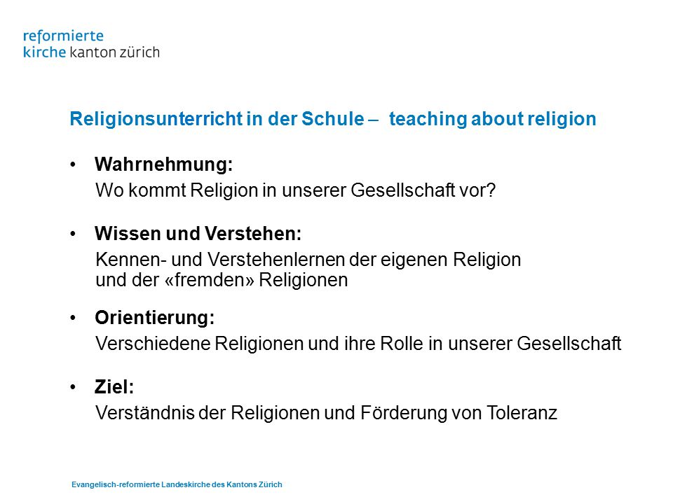 Religionsunterricht in der Schule – teaching about religion