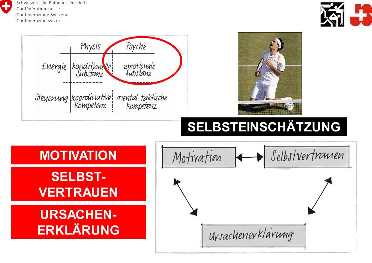SELBSTEINSCHÄTZUNG MOTIVATION SELBST- VERTRAUEN URSACHEN- ERKLÄRUNG
