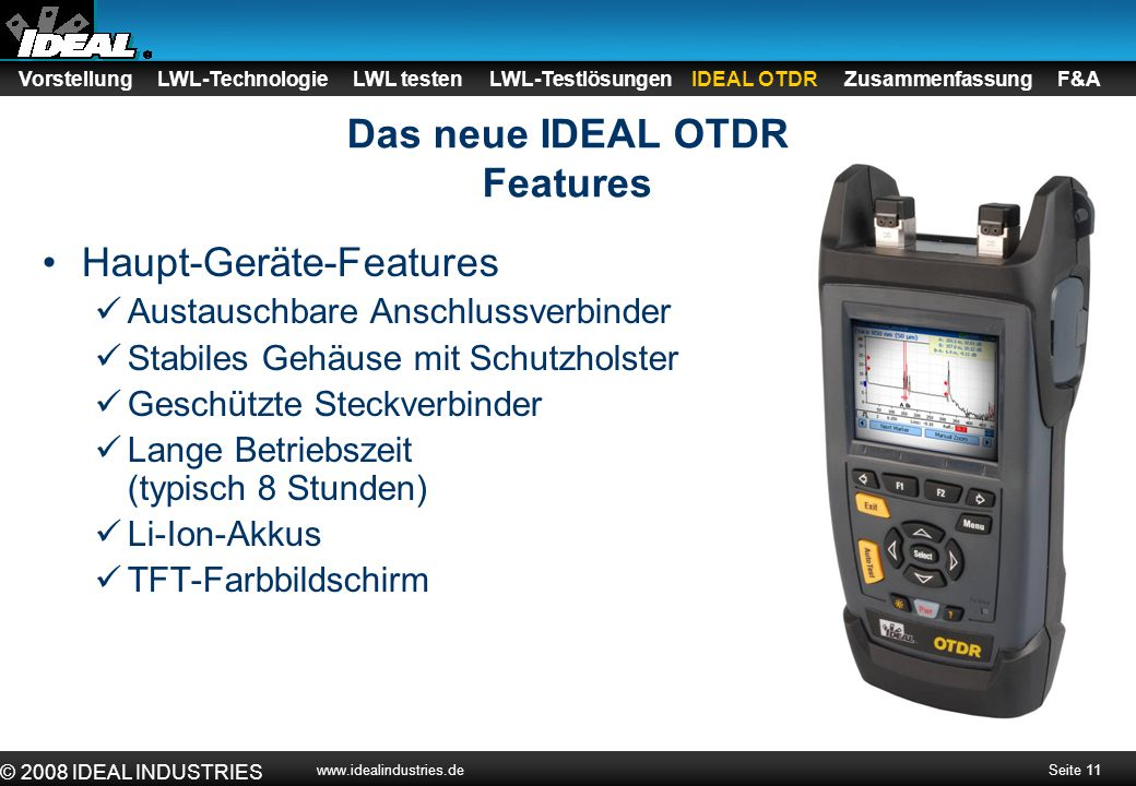 Das neue IDEAL OTDR Features