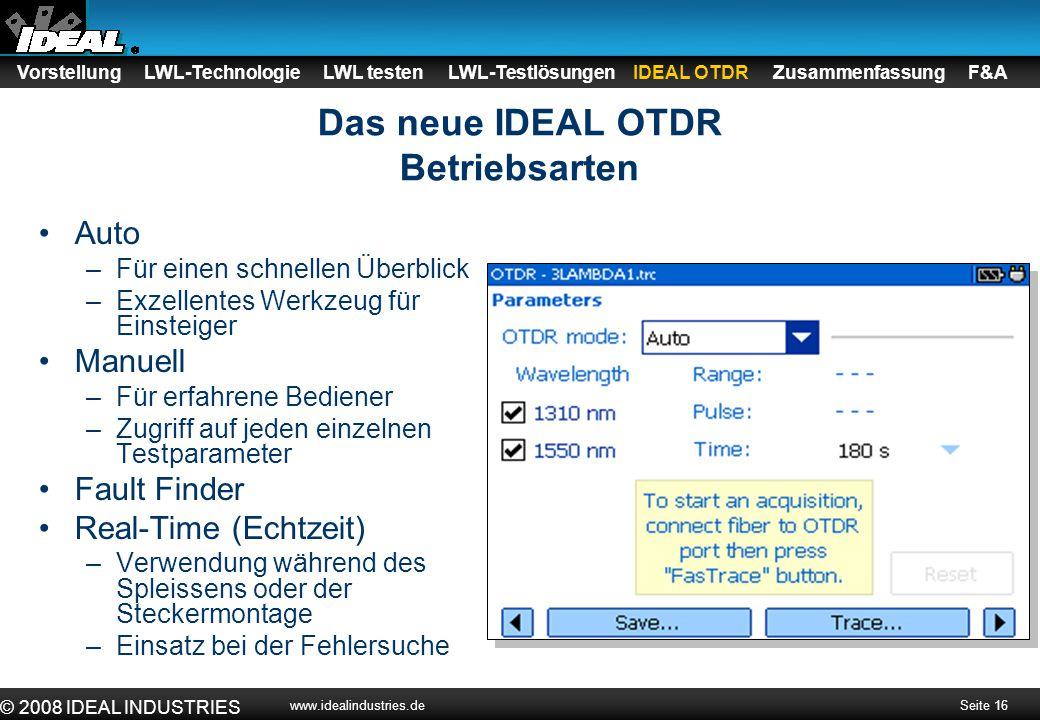 Das neue IDEAL OTDR Betriebsarten