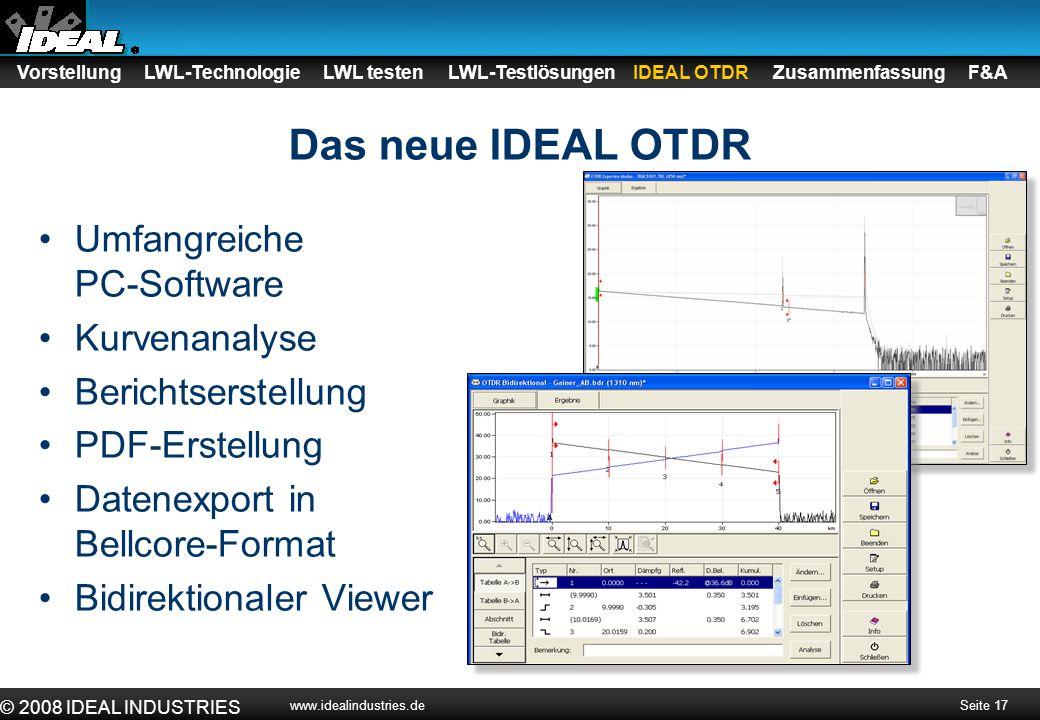 Das neue IDEAL OTDR Umfangreiche PC-Software Kurvenanalyse
