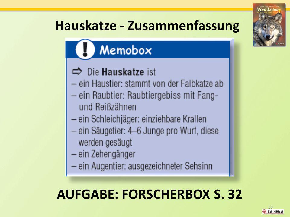 Aufgabe: Forscherbox S. 32