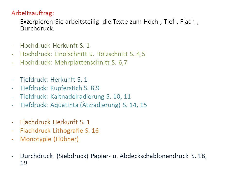 Arbeitsauftrag: Exzerpieren Sie arbeitsteilig die Texte zum Hoch-, Tief-, Flach-, Durchdruck. Hochdruck Herkunft S. 1.