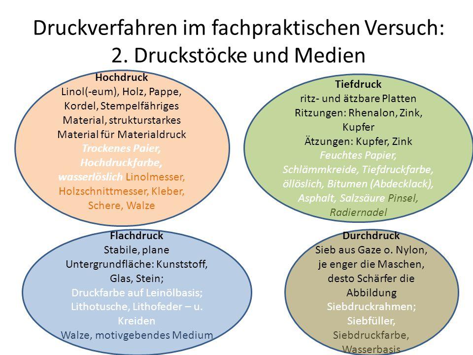 Druckverfahren im fachpraktischen Versuch: 2. Druckstöcke und Medien