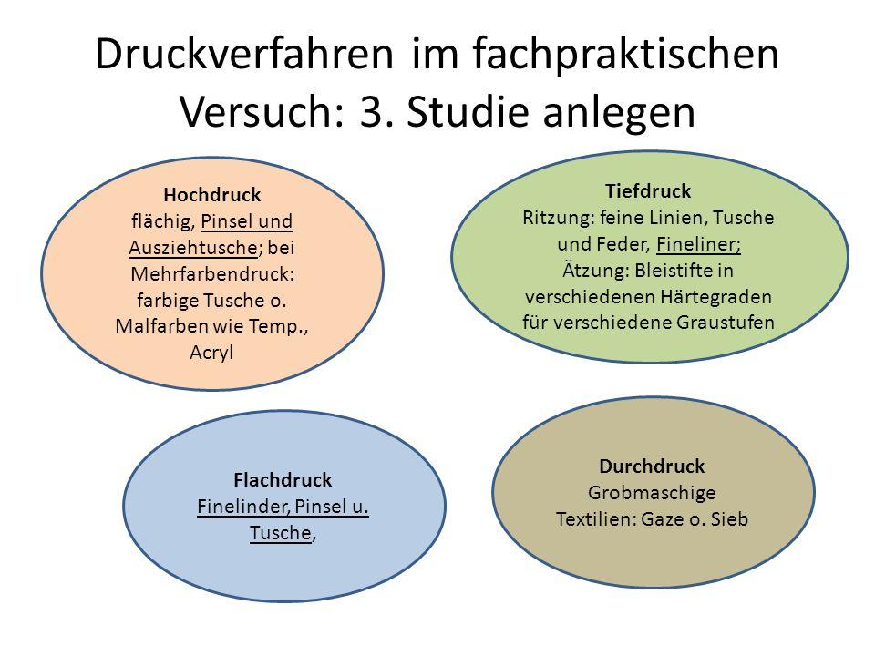 Druckverfahren im fachpraktischen Versuch: 3. Studie anlegen