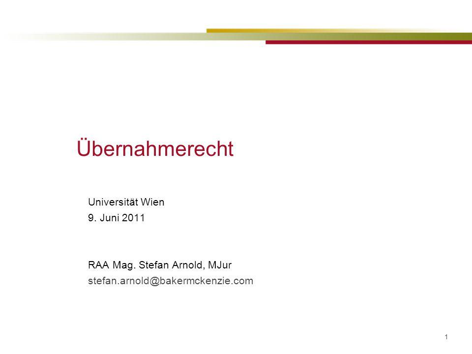 Übernahmerecht Universität Wien 9. Juni 2011