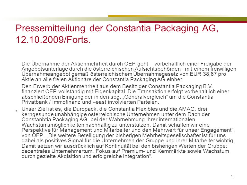 Pressemitteilung der Constantia Packaging AG, 12.10.2009/Forts.