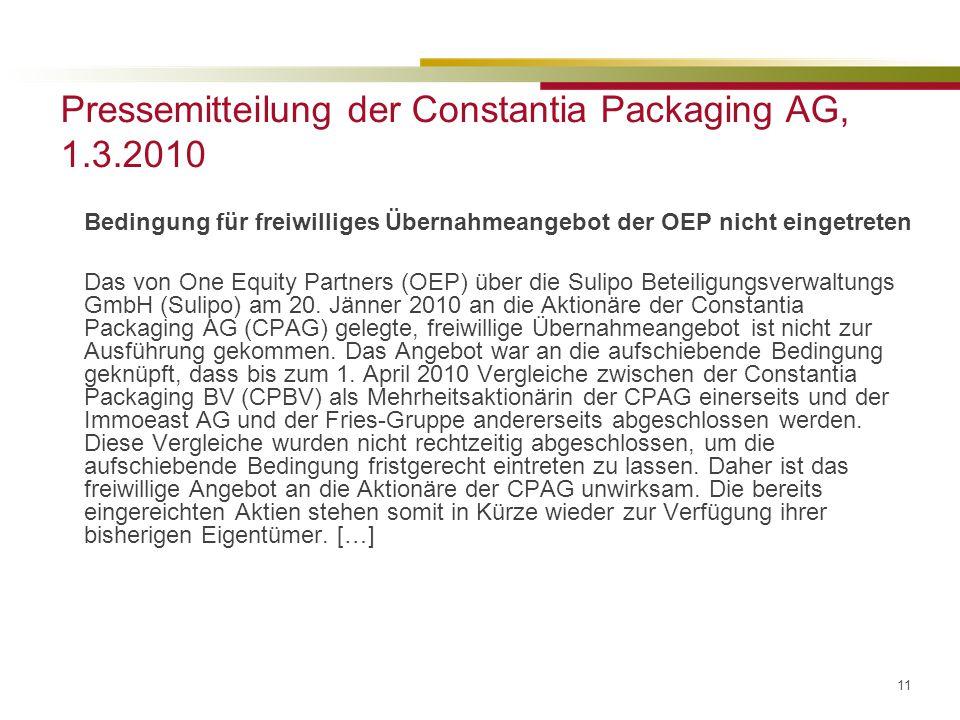 Pressemitteilung der Constantia Packaging AG, 1.3.2010