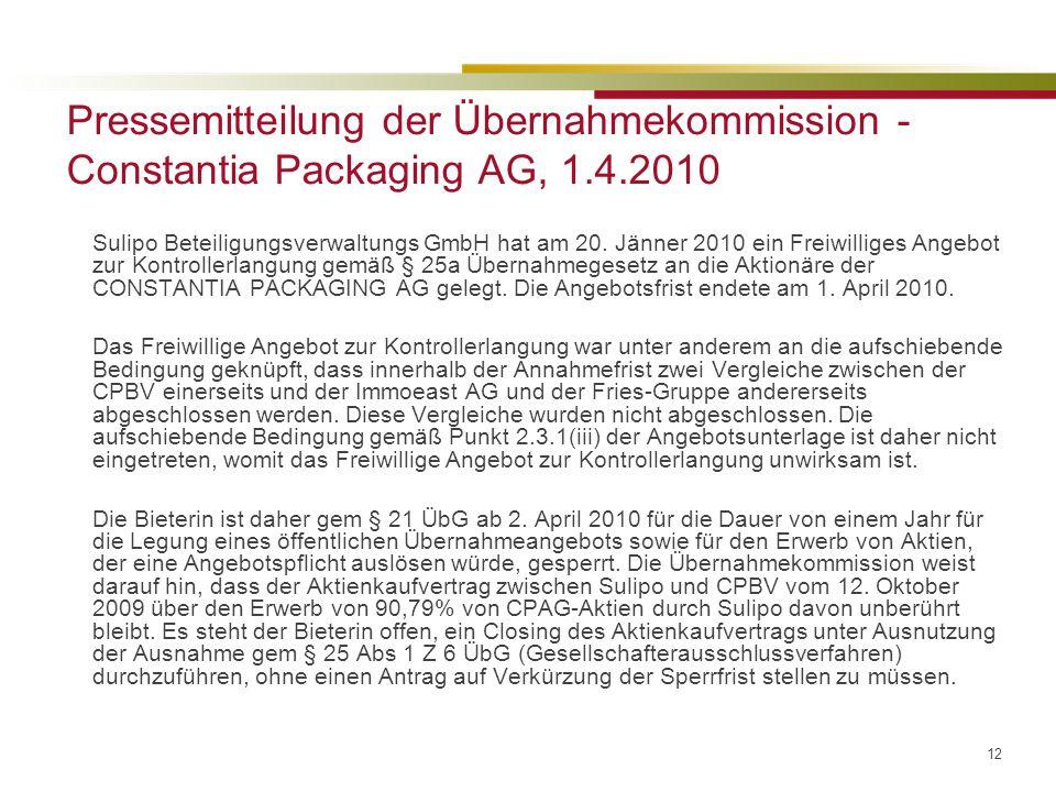 Pressemitteilung der Übernahmekommission - Constantia Packaging AG, 1