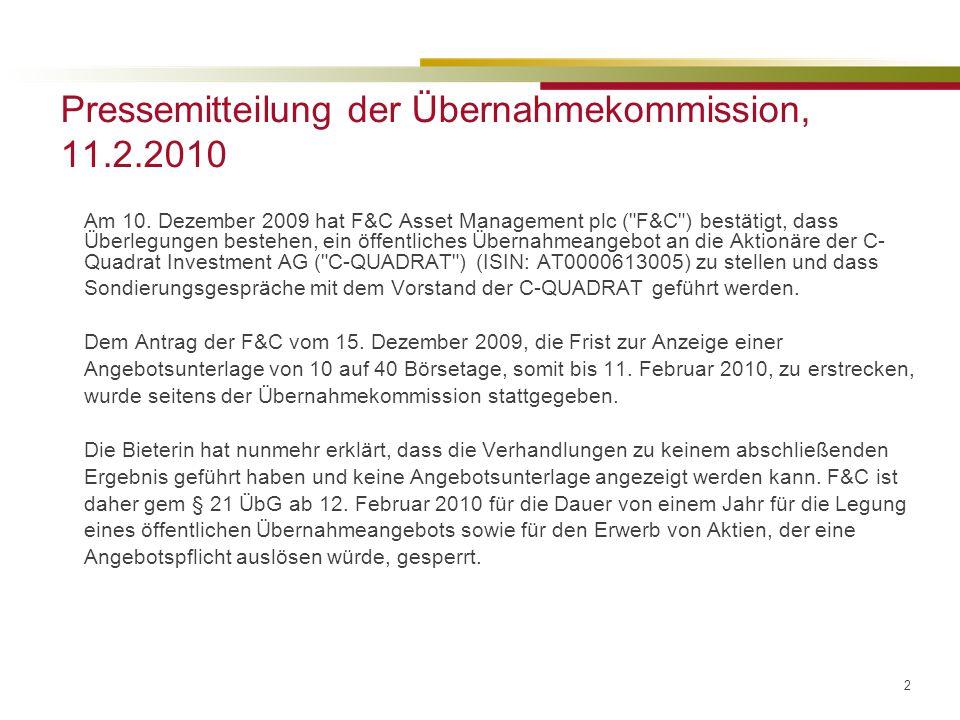 Pressemitteilung der Übernahmekommission, 11.2.2010