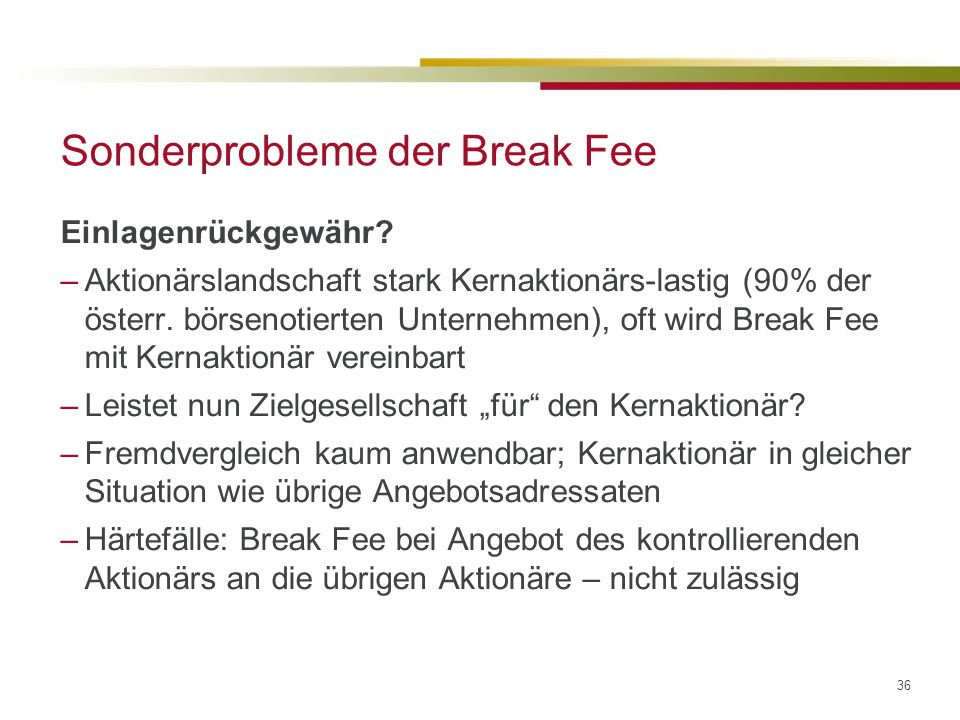 Sonderprobleme der Break Fee