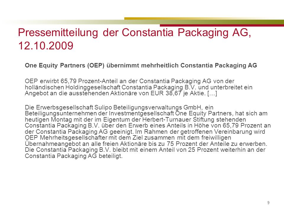 Pressemitteilung der Constantia Packaging AG, 12.10.2009