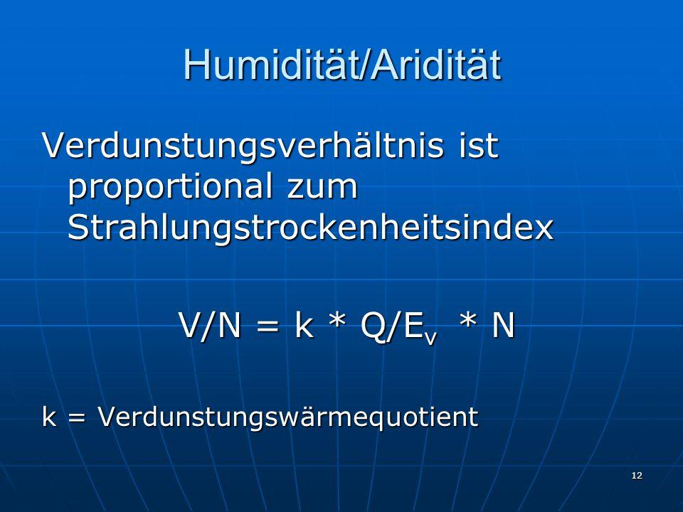 Humidität/Aridität Verdunstungsverhältnis ist proportional zum Strahlungstrockenheitsindex. V/N = k * Q/Ev * N.
