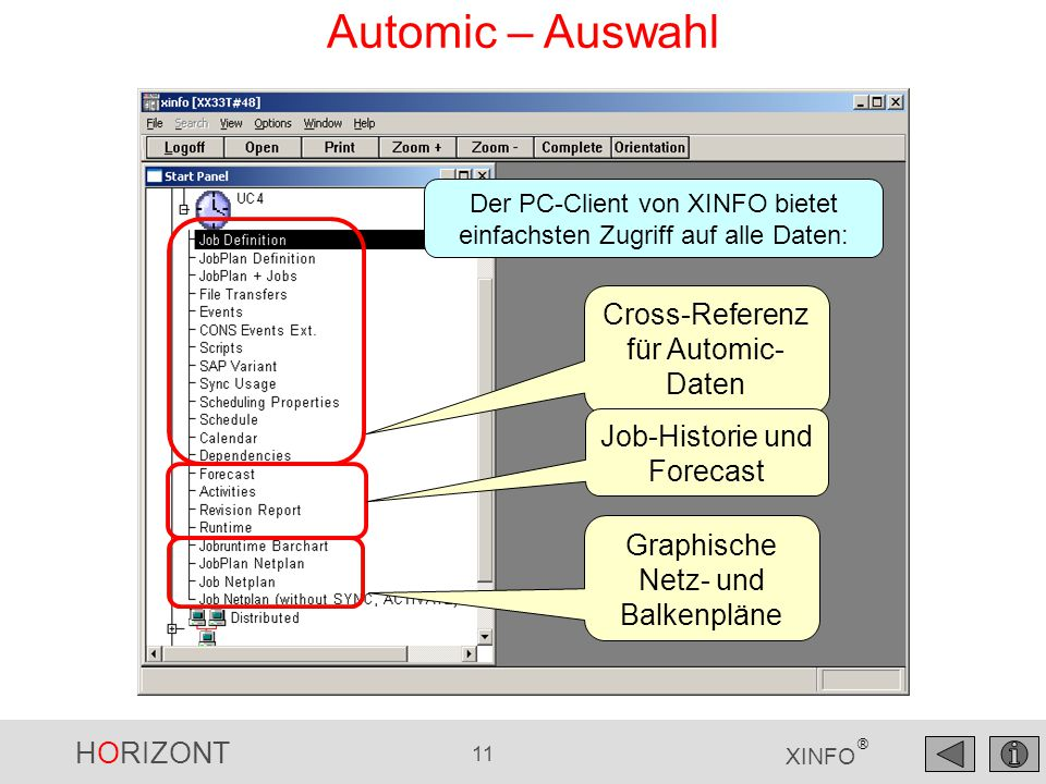 Automic – Auswahl Cross-Referenz für Automic-Daten
