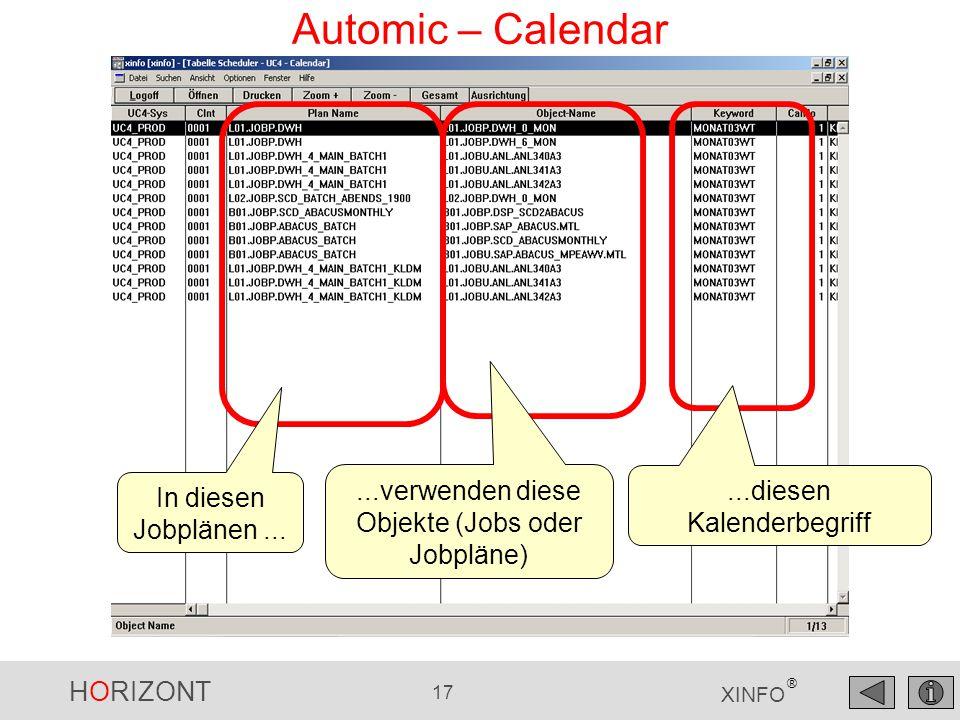 Automic – Calendar ...verwenden diese Objekte (Jobs oder Jobpläne)