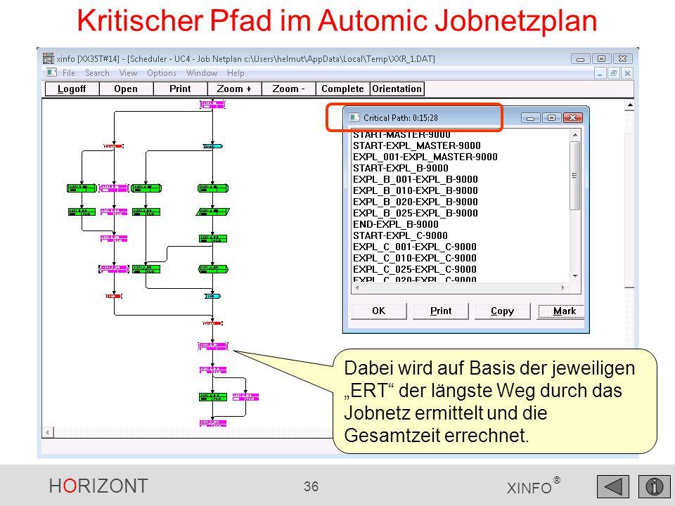 Kritischer Pfad im Automic Jobnetzplan