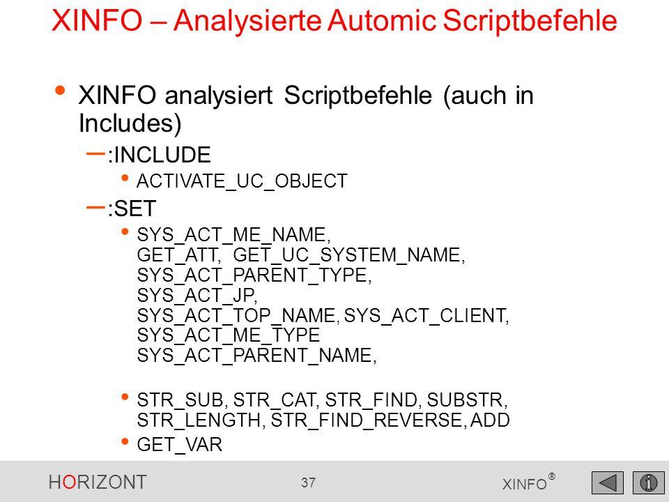 XINFO – Analysierte Automic Scriptbefehle