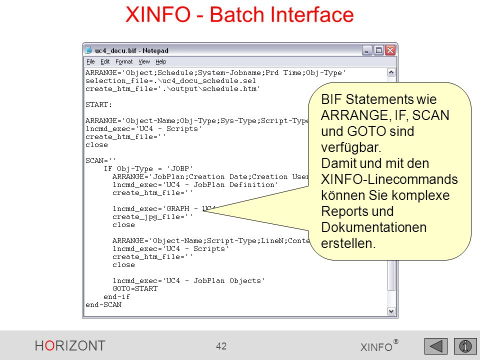 XINFO - Batch Interface