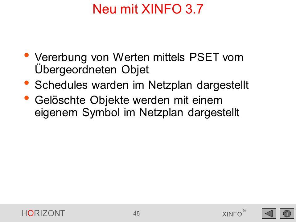 Neu mit XINFO 3.7 Vererbung von Werten mittels PSET vom Übergeordneten Objet. Schedules warden im Netzplan dargestellt.