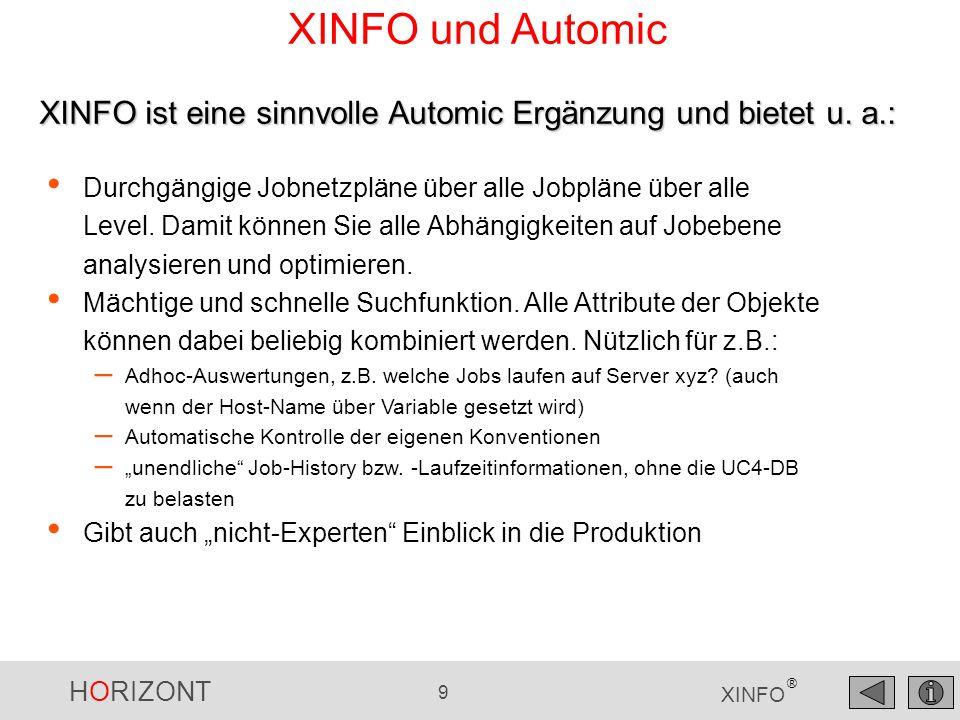 XINFO und Automic XINFO ist eine sinnvolle Automic Ergänzung und bietet u. a.: