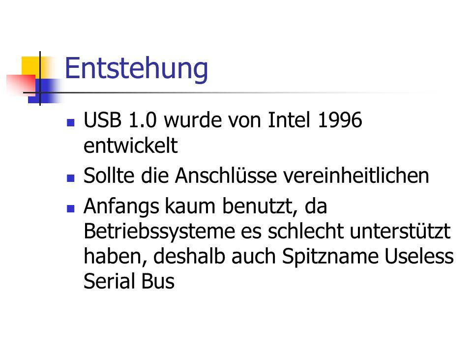 Entstehung USB 1.0 wurde von Intel 1996 entwickelt