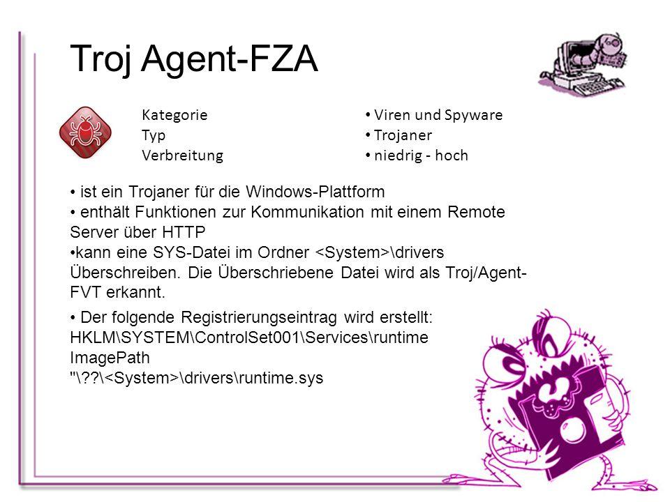 Troj Agent-FZA Kategorie Viren und Spyware Typ Trojaner Verbreitung
