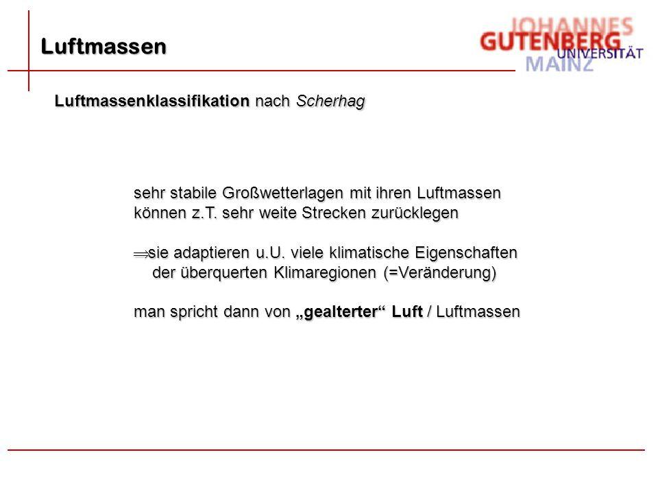 Luftmassen Luftmassenklassifikation nach Scherhag