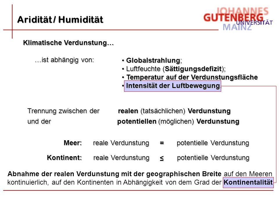 Aridität / Humidität Klimatische Verdunstung… …ist abhängig von: