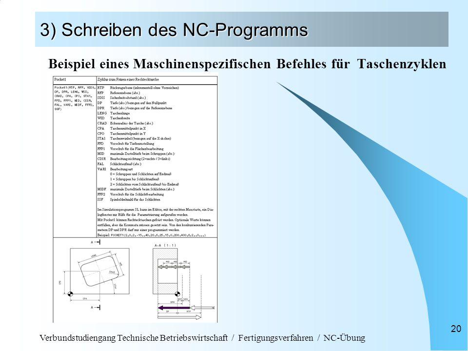 3) Schreiben des NC-Programms