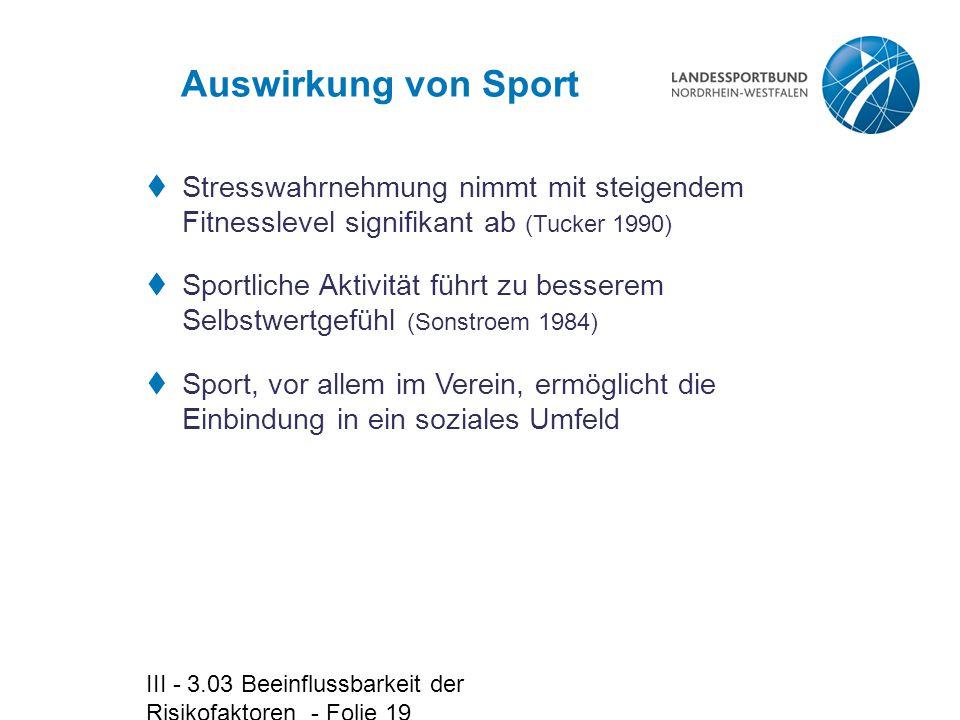 Auswirkung von Sport Stresswahrnehmung nimmt mit steigendem Fitnesslevel signifikant ab (Tucker 1990)