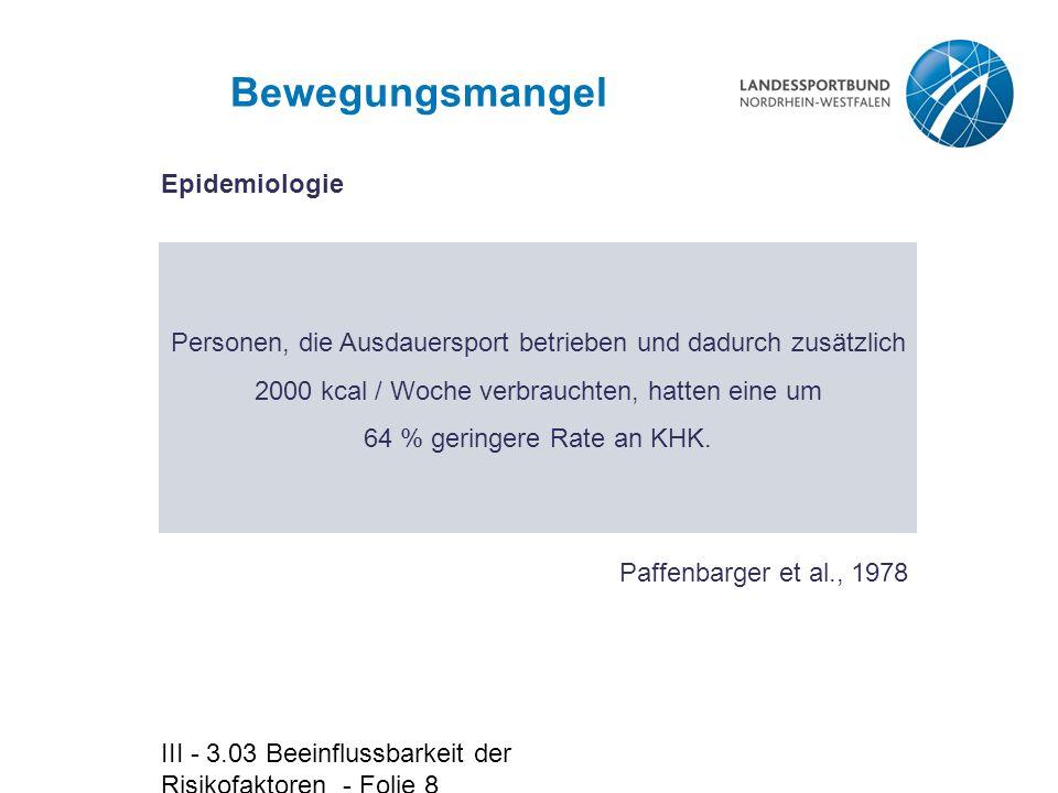 Bewegungsmangel Epidemiologie